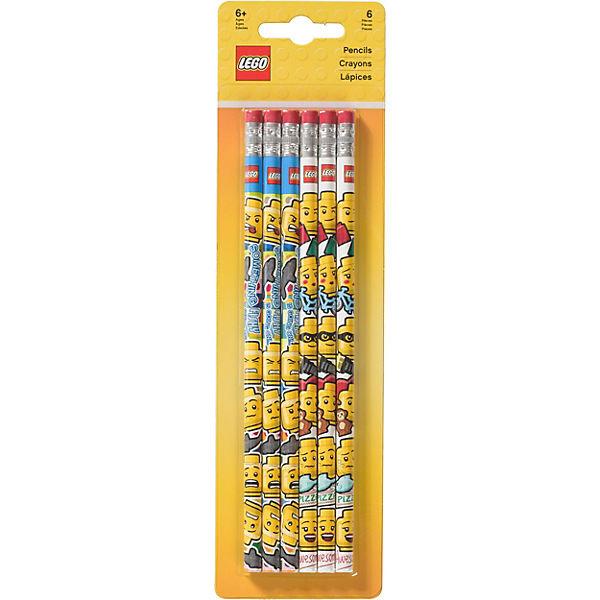 Набор из 6 карандашей с ластиками.LEGO iconic (смайлик)