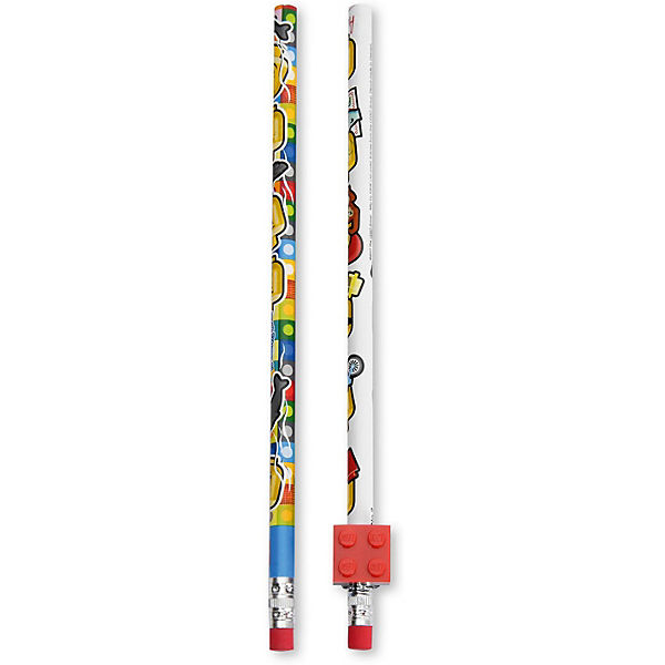 Набор карандашей (2 шт.) с 1 насадкой в форме кирпичика LEGO iconic (смайлик)