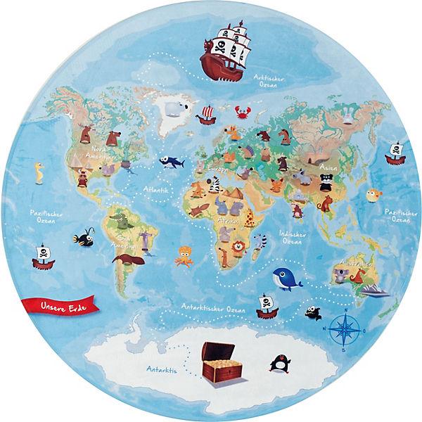 weltkarte rund Kinderteppich Lovely Kids, Unsere Weltkarte, rund, 100 cm, BC kids  weltkarte rund