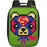Пиксельный рюкзак большой (ортопедическая спинка) Upixel «Canvas classic pixel Backpack», зеленый