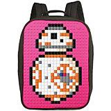 Пиксельный рюкзак большой (ортопедическая спинка) Upixel «Canvas classic pixel Backpack», фуксия