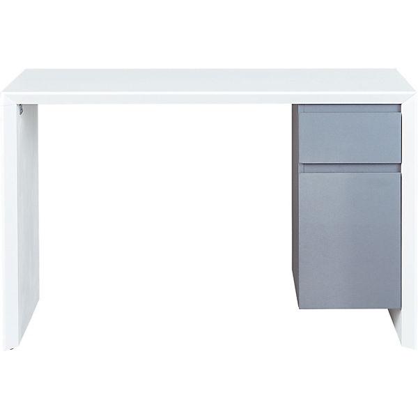 Schreibtisch Megara Hochglanz Pvc Weißgrau Mytoys