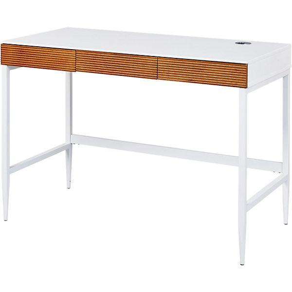 Eckschreibtisch weiß matt  Schreibtisch SCANDICI, weiß matt/Eiche massiv,