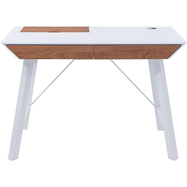 Eckschreibtisch weiß matt  Schreibtisch EVERETT, weiß matt/Wildeiche Optik,