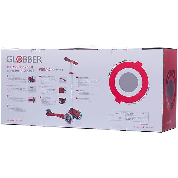 Трехколесный самокат Globber «Primo Plus Lights», красный