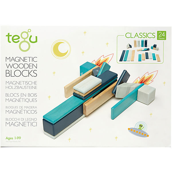 TEGU 5700509 Magnetisches Holzset blau, 24 Teile, TEGU