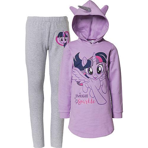 My little Pony Kinder Set Kapuzensweatkleid mit Einhorn und Ohren + Leggings Gr. 128/134 Mädchen Kinder | 04250979813521