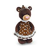 Мягкая игрушка Orange Choco & Milk Мишка Milk стоячая в платье в горох, 30 см