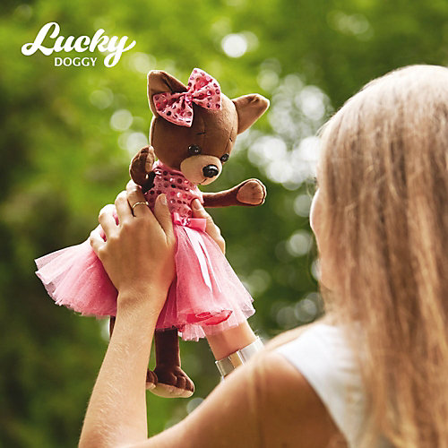 Мягкая игрушка Orange Lucky Doggy Собака Kiki: Малиновый блеск, 37 см от Orange