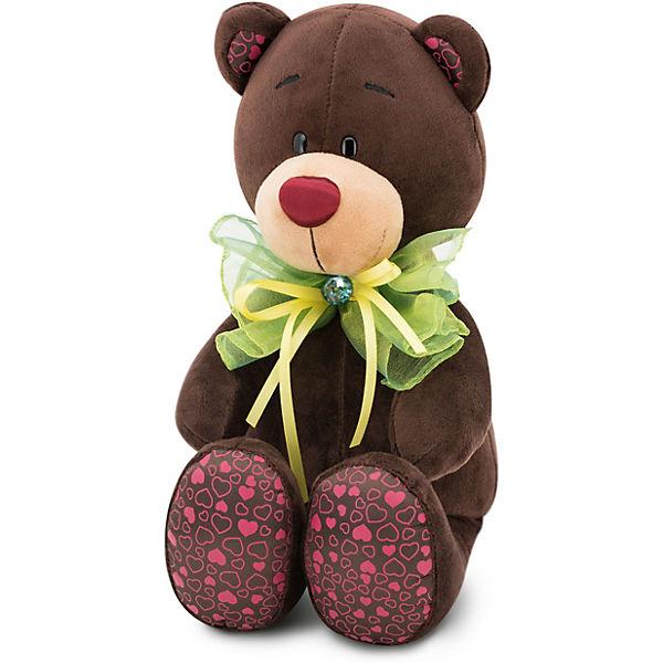 """Мягкая игрушка Orange """"Choco&Milk"""" Медвежонок Choco: Зелёный бант, 25 см"""