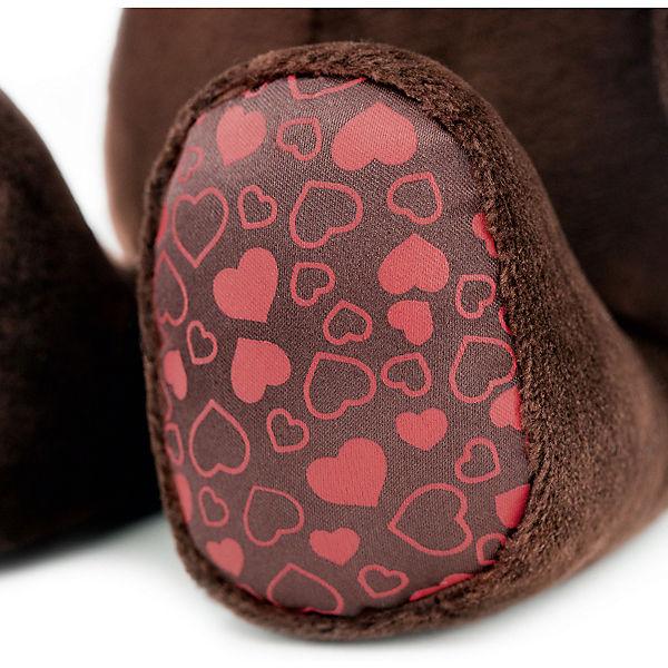"""Мягкая игрушка Orange """"Choco&Milk"""" Медвежонок Choco сидячий в вязанной шапке с сердечками, 25 см"""