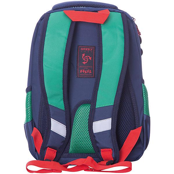 Рюкзак школьный Grizzly, зелёный/синий
