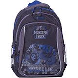Рюкзак школьный Grizzly, чёрный/синий