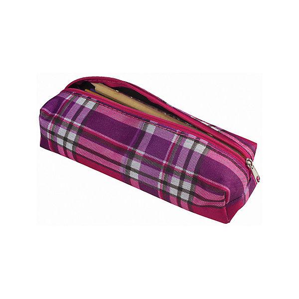 """Пенал-косметичка Brauberg """"Шотландия"""", фиолетовый с розовым"""