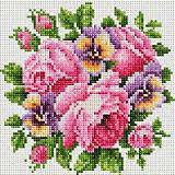 Алмазная мозаика Белоснежка «Розы и анютины глазки», 20х20 см