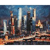 Картина по номерам Белоснежка «Вечерние огни: Москва сити», 40x50 см