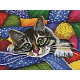 Алмазная мозаика Белоснежка «Котик в лоскутках», 30х40 см