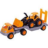 Погрузчик Mochtoys с прицепом и трактором,оранжевый