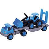 Погрузчик Mochtoys с прицепом и трактором,синий