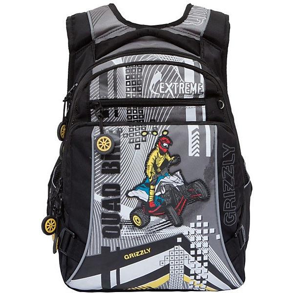 acb249d0dbb9 Рюкзак школьный Grizzly, чёрный/серый (8339130) купить за 1636 руб ...