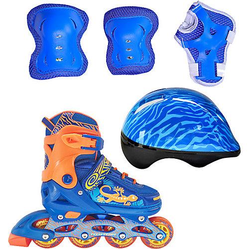 Набор: роликовые коньки, защита, шлем Jungle Set, синие - синий от Tech Team