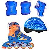 Набор: роликовые коньки, защита, шлем Jungle Set, синие