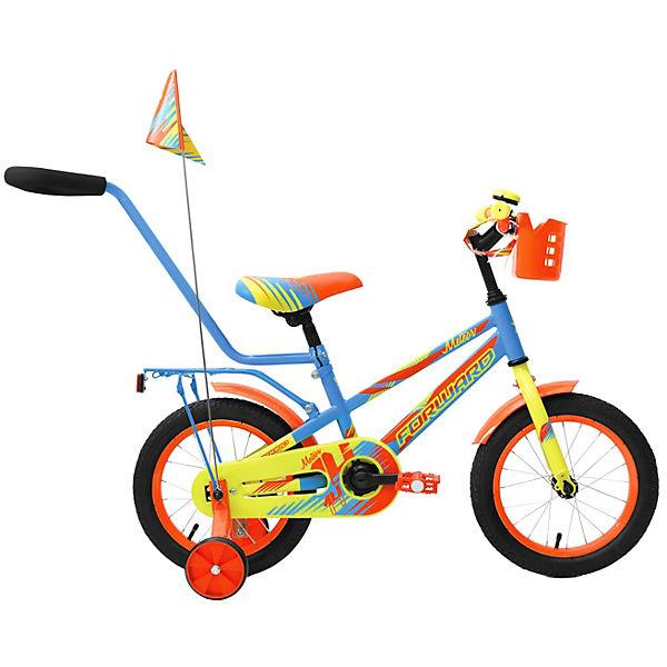 """Двухколёсный велосипед Forward """"Meteor"""" 14, голубой/зеленый"""