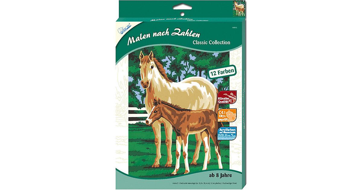 Malen nach Zahlen Pferd mit Fohlen.