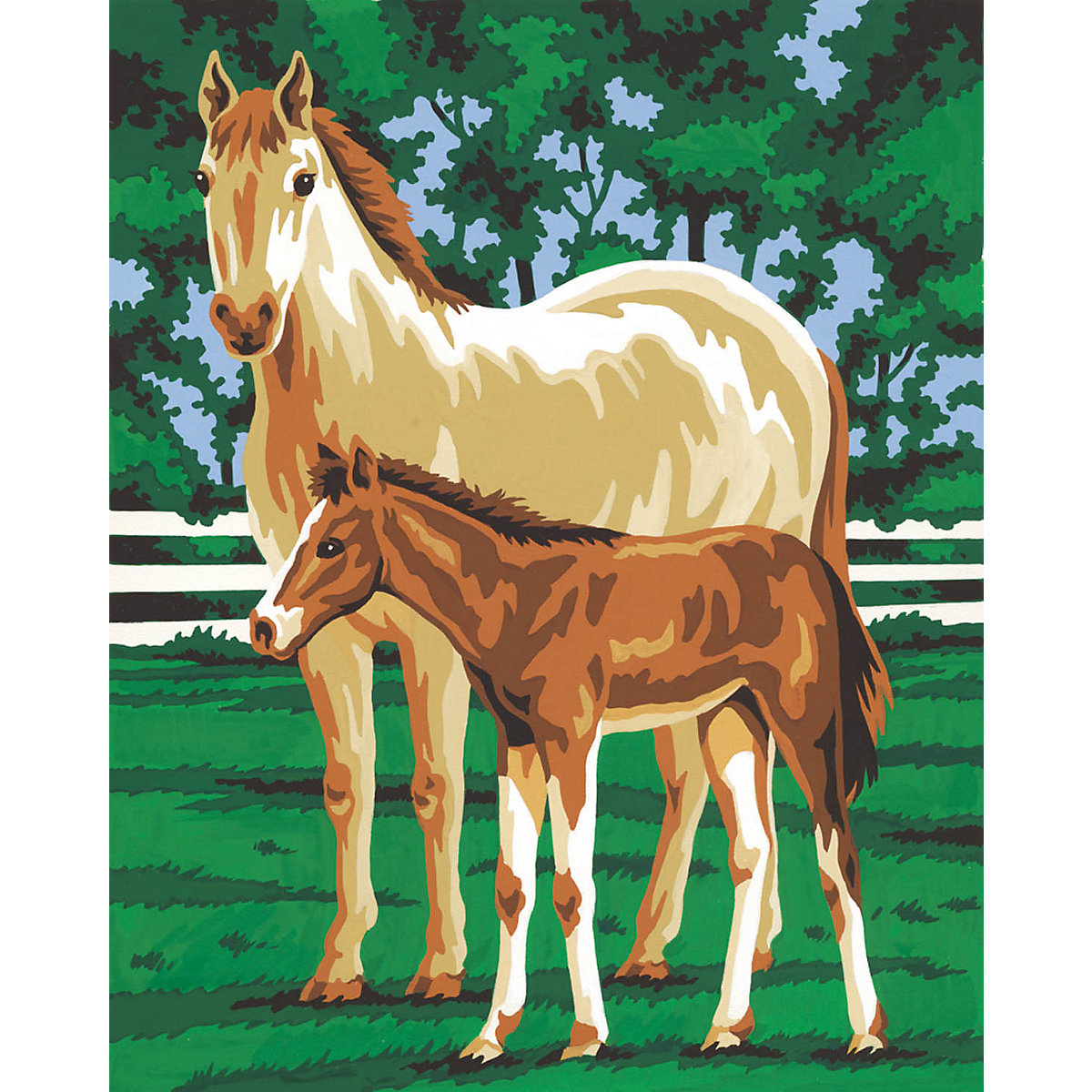 malen nach zahlen pferd mit fohlen mammut spiel und