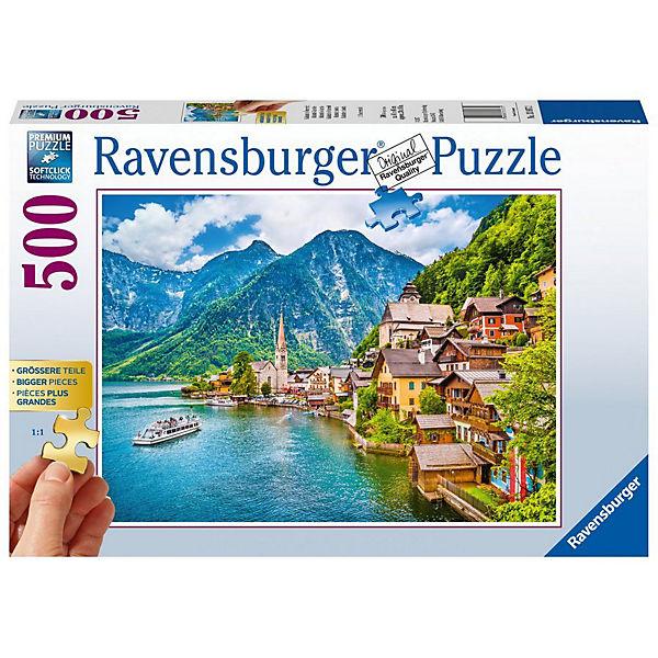 Puzzle 500 Teile, 61x46 cm, Gold Edition: größere Teile, Hallstatt in Österreich, Ravensburger
