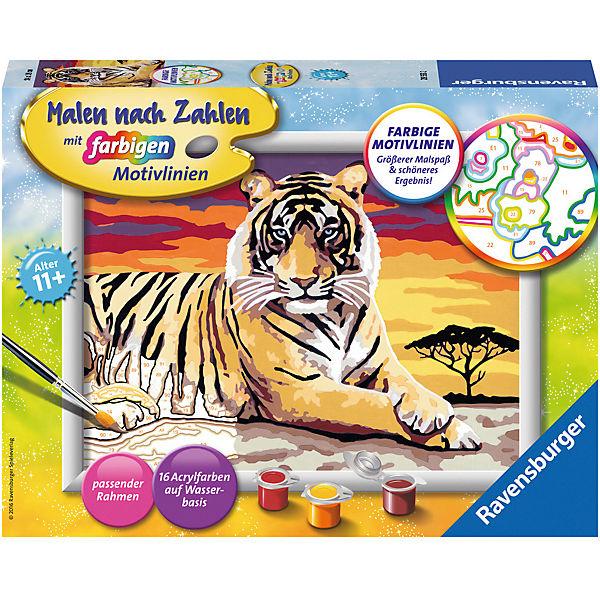 Malen Nach Zahlen 18x24 Cm Mit Farbigen Motivlinien Majestätischer Tiger Ravensburger