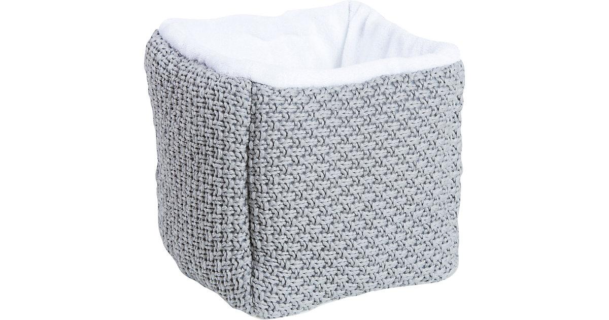 Schardt · Aufbewahrungsbox aus Strickmaterial, hellgrau/weiß
