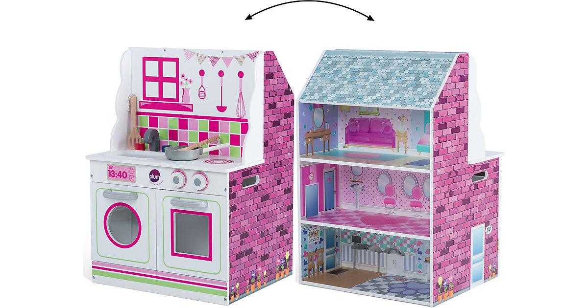 plum · Plum® 2-in-1 Puppenhaus und Spielküche aus Holz