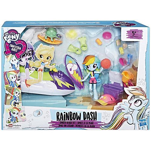 """Игровой набор с мини-куклой Equestria Girls """"Пижамная вечеринка"""" Пляжный спорт Рэйнбоу Дэш от Hasbro"""