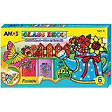 Набор витражных красок Amos, 6 цветов по 22 мл