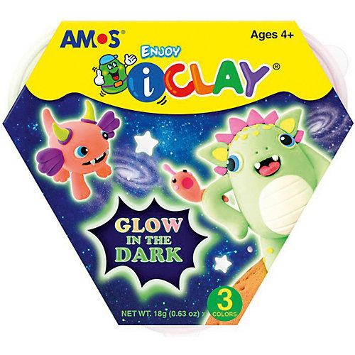 МАССА iClay для лепки Amos светящаяся в темноте 3 цв. по 18 гр. от Amos