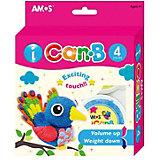 """Шариковый пластилин Amos """"Попугай"""", 4 цвета"""