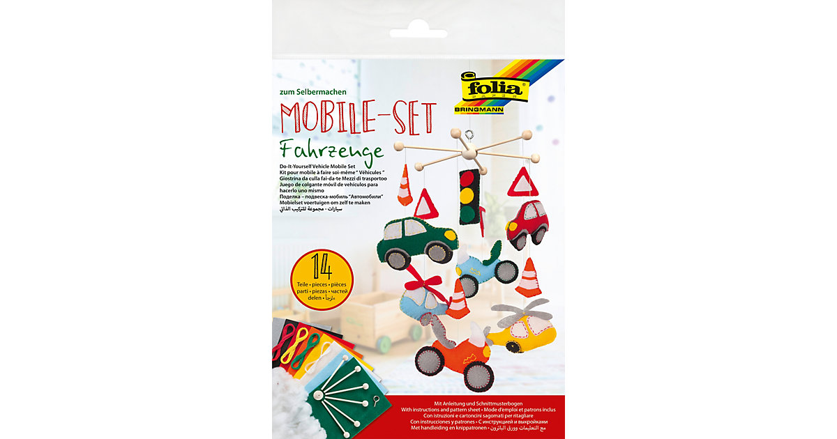 Kreativset Mobile Fahrzeuge Filz, 14-tlg.