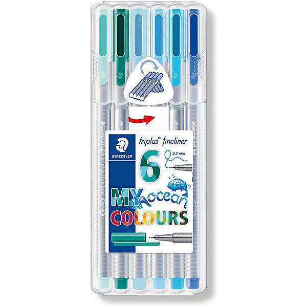 Набор капиллярных ручек Staedtler «Triplus fineliner», 6 цветов океана