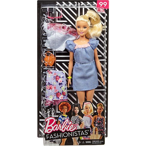 Barbie Kleid Fashionistas Puppe + Mode Geschenkset im blauen Kleid Barbie mit rosa Spitze, Barbie 75ded3
