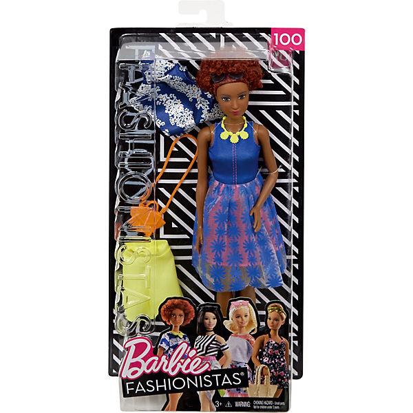 Barbie Fashionistas + Puppe + Fashionistas Mode Geschenkset im blauen Oberteil mit Blumenmuster mit gelber Kette, Barbie 1f63c6