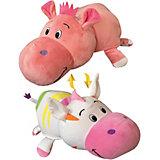 Мягкая игрушка-вывернушка 1toy Радужная зебра - Розовый гиппопотам, 76 см