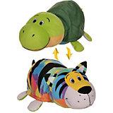Мягкая игрушка-вывернушка 1toy Радужный тигр - Черепаха, 40 см