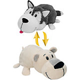 Мягкая игрушка-вывернушка 1toy Хаски - Полярный медведь, 40 см