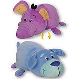 Мягкая игрушка-вывернушка 1toy Голубой щенок - Фиолетовый слон, 40 см