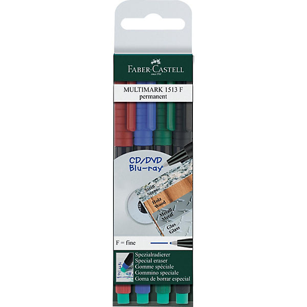 Капиллярная перманентная ручка Faber-Castell «Multimark» для письна на СD, 4 шт