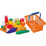 """Игровой набор Dohany """"Овощи и фрукты"""" в большой корзине, оранжевый"""