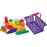 """Игровой набор Dohany """"Овощи и фрукты"""" в большой корзине, бордовый"""