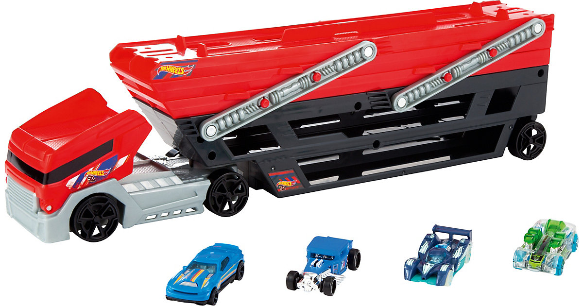 Hot Wheels Mega Truck inkl. 4 Die-Cast Fahrzeuge
