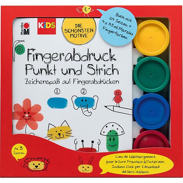 Fingerfarbe Weihnachten.Kids Fingerabdruck Set Buch Mit 4 X 35 Ml Fingerfarbe Marabu Kids